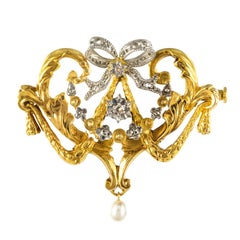 1880s Belle Époque Pearl Diamonds 18 Karat Gold Brooch