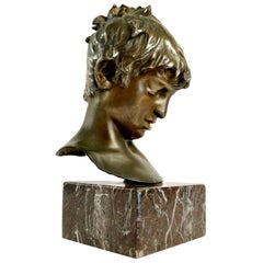 1880s Bronze Head of a Young Boy Signed by Vincenzo Gemito