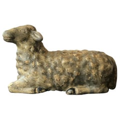1880s Carved Wood Sheep