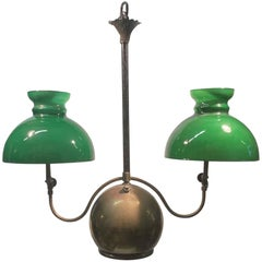 1880s Converted Brass and Green Glass Double Light Whale Oil Lantern Pendant