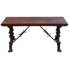 1880s Dark Wooden Bench with Wrought Iron Legs