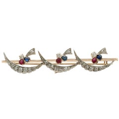 Antique Victorian 1880s Diamond Ruby and Sapphire Yellow Gold Bar Brooch