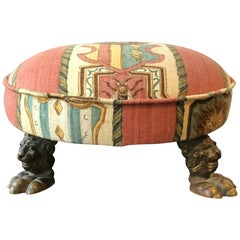 1880s English Bronze Lion Footstool