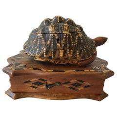 1880s English Carved Wood Turtle Box