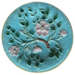 1880s English Majolica Flowers Aqua Plate
