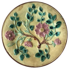 1880s English Majolica Victorian Flowers Plate