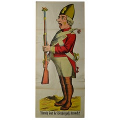 1880s European Life-Size Stone Lithography Poster with an Officer