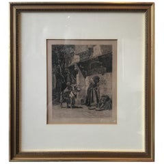 1880s F. A. Bridgman Etching Entitled Lady of Cairo Visiting