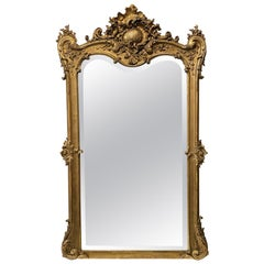1880s French Beveled Glass Gilt Mirror Gesso and Hand Carved Wood