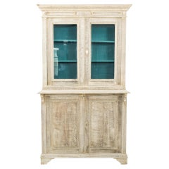 1880s French Bleached Oak Vitrine with Teal Blue Interior