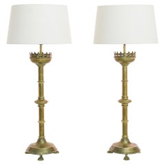 1880s French Brass Table Lamps, a Pair