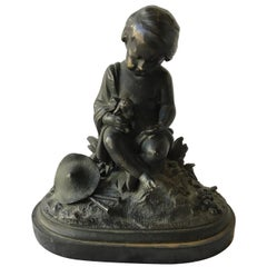 1880s French Bronze of Boy and Baby Lamb