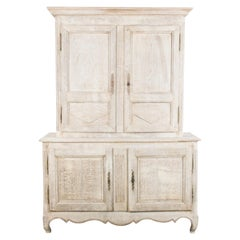 1880s French Country Natural Oak Armoire