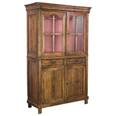 1880s French Country Oak Vitrine with Rose Pink Interior