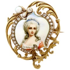 1880s French Diamond and Pearl Enamel Yellow Gold Brooch