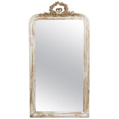 1880s French Gilded Mirror with Laurel Wreath
