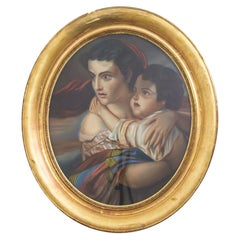 1880s French Painting in Wooden Frame