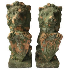 1880s French Terracotta Lions Holding Shields