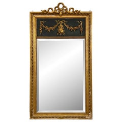 1880s French Trumeau Mirror from Gilded Wood and Beveled Mirror
