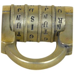 1880s French Vintage Brass Lock with Four Letters Alphabetical Combination