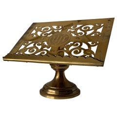 1880s Gothic Revival Bronze & Brass Table Lectern Bible Stand by Jones & Willis