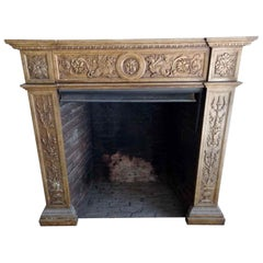 1880s Hand Carved Gothic Carrara Marble Fireplace Mantel with Griffins and Urns