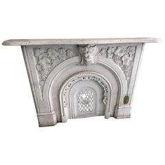 1880s Highly Hand Carved White Carrara Marble Mantel with Grape and Vine Details