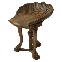 1880s Italian Carved Wood Fantasy Stool