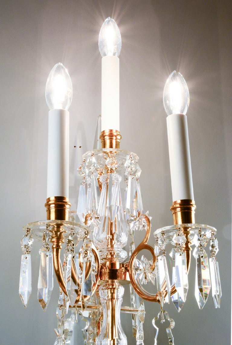 Gilt 1880s Lobmeyr Polished Antique Gold Three-Arm Wall Sconce with Hand-Cut Crystal For Sale
