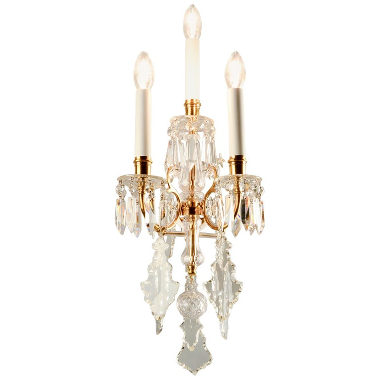 1880s Lobmeyr Polished Antique Gold Three-Arm Wall Sconce with Hand-Cut Crystal For Sale