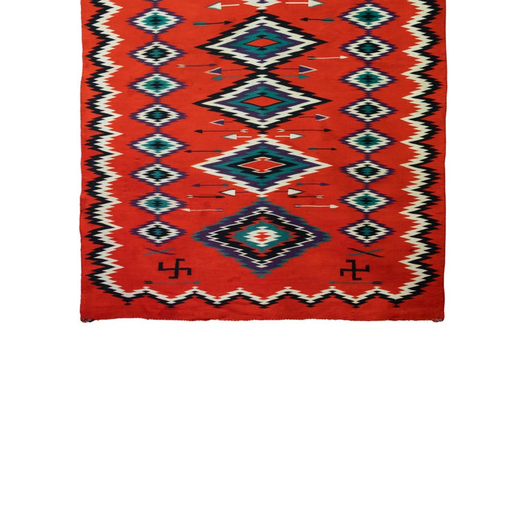 American 1880s Navajo Pictorial Germantown Weaving For Sale