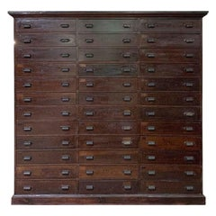 1880s New England Industrial Wood Cabinet with 36 Drawers