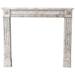 1880s NYC Waldorf Astoria Hotel French White Marble Mantel with Gray Veining