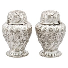 1880s Pair of Victorian Sterling Silver Condiment Shakers