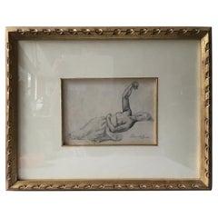 1880s Paul Albert Besnard Pencil Drawing of a Reclining Woman