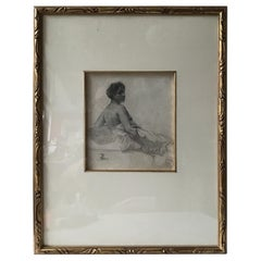 1880s Paul Albert Besnard Pencil Drawing of a Sitting Woman