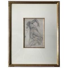 1880s Paul Albert Besnard Pencil Drawing of a Woman
