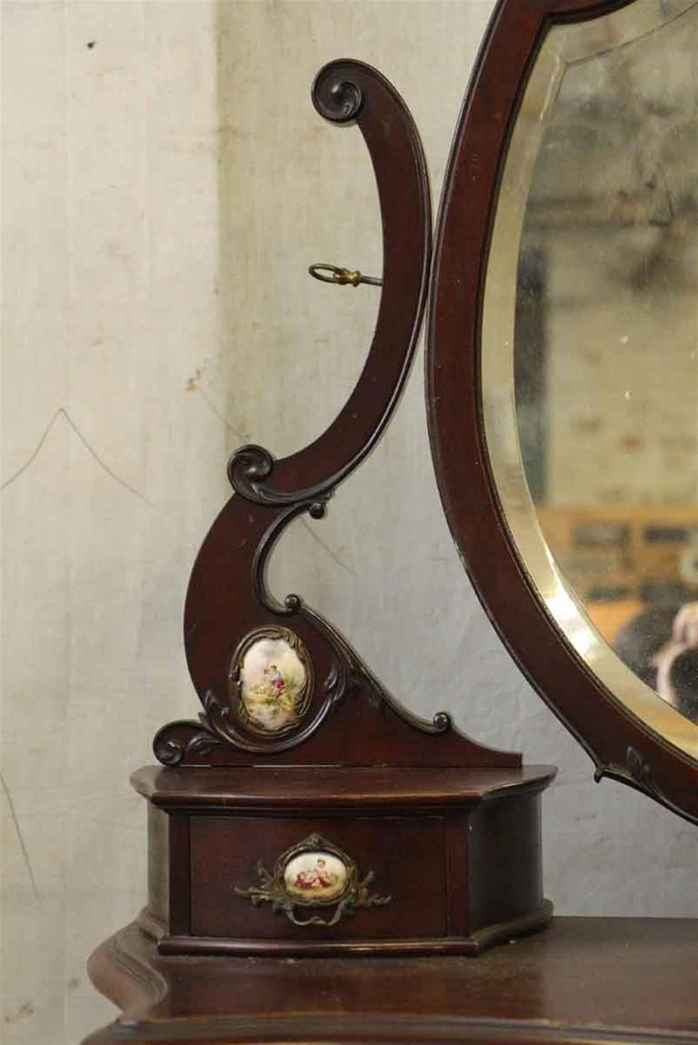 1880s Queen Anne Mahogany Tall Dresser With Porcelain