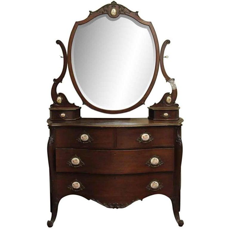 1880s Queen Anne Mahogany Vanity Dresser With Original