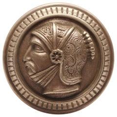 1880s Representational Style Bronze Greek Head Door Knob