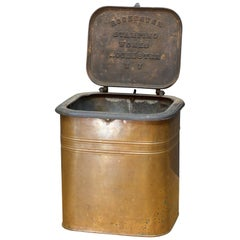 1880s Rochester Stamping Works Copper Coal Can Industrial Waste Trash Bin