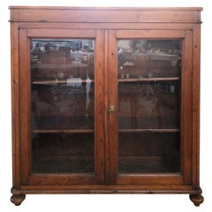 1880s Showcase in Italian Fir with Original Decorated Glass Two Internal Shelves