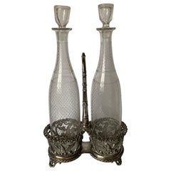 1880s Silver Eagle Motif Bottle Stand and Glass Decanters by EB Maltby