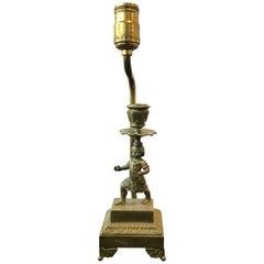 1880s Small Bronze Boy Candlestick Lamp