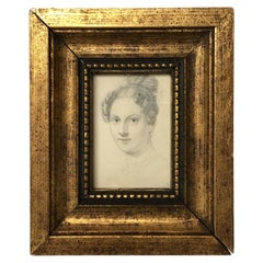 1880s Small Charcoal Portrait of a Woman