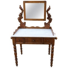 1880s Table Original Italian Toilette Carved Walnut Carrara Marble Mirror