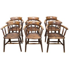 1880s Tavern Dining Chairs Antique Walnut Captain's Chairs Six