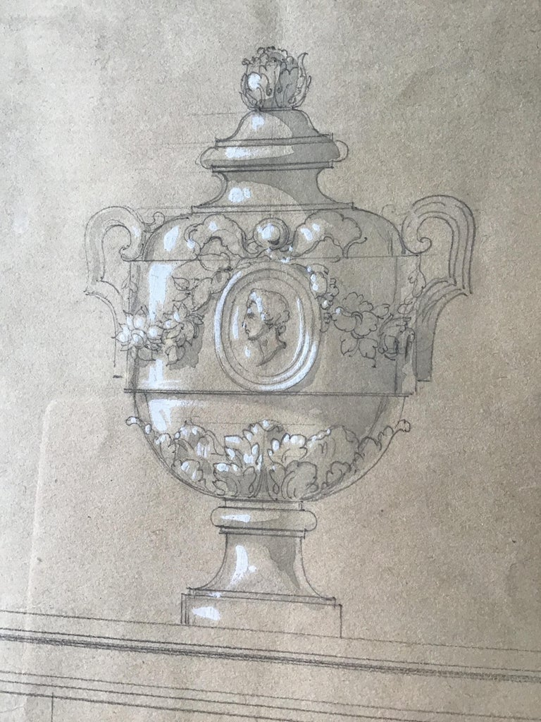 Watercolor of an urn, done in Paris by Jansen in the 1880s.
