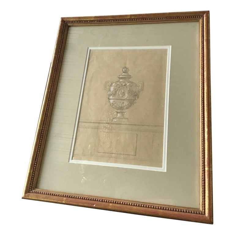 1880s Urn Watercolor by Jansen For Sale