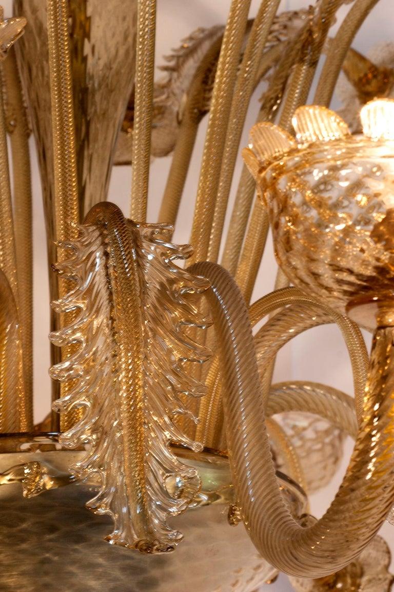 Italian 1880s Venetian Murano Champagne or Gold Chandelier For Sale